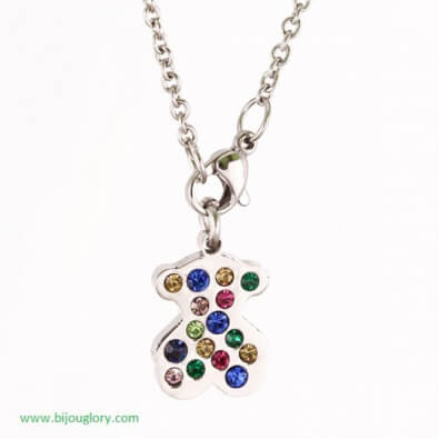 pendants and chains, pendants made of steel, Pendant stainless steel teddy bear with crystals