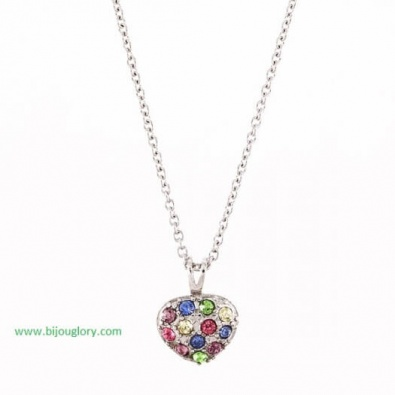 pendants and chains, pendants made of steel, heart stainless steel pendant with crystals