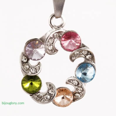 pendants and chains, pendants made of steel, stainless steel pendant with crystals