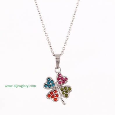 pendants and chains, pendants made of steel, clover pendant of stainless steel